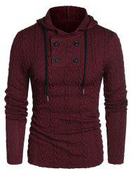 Hooded Cable Knit Button Drawstring Sweater -