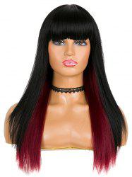 Synthetic Full Bang Ombre Long Straight Party Wig -