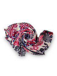 Winter Geometric Print Fringe Square Scarf -