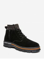 Lace Up Knitted Edge Solid Boots -