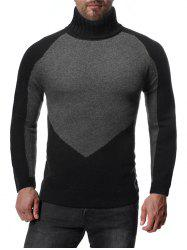 Colorblock Spliced Raglan Sleeve Turtleneck Sweater -
