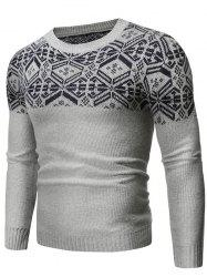 Geometric Graphic Contrast Pullover Sweater -
