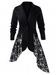 Plus Size Lace Panel Blazer - Noir 3X