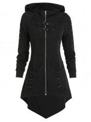 Dual Buckle Zip Up High Low Gothic Jacket -