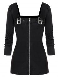 Plus Size avant Zip Buckles Punk T-shirt -