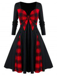 Plus Size Checked Bowknot Splicing Dress -