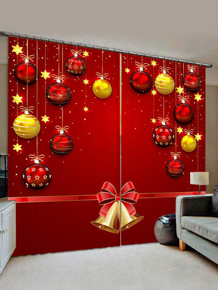 Sale 2 Panels Christmas Balls Bells Print Window Curtains