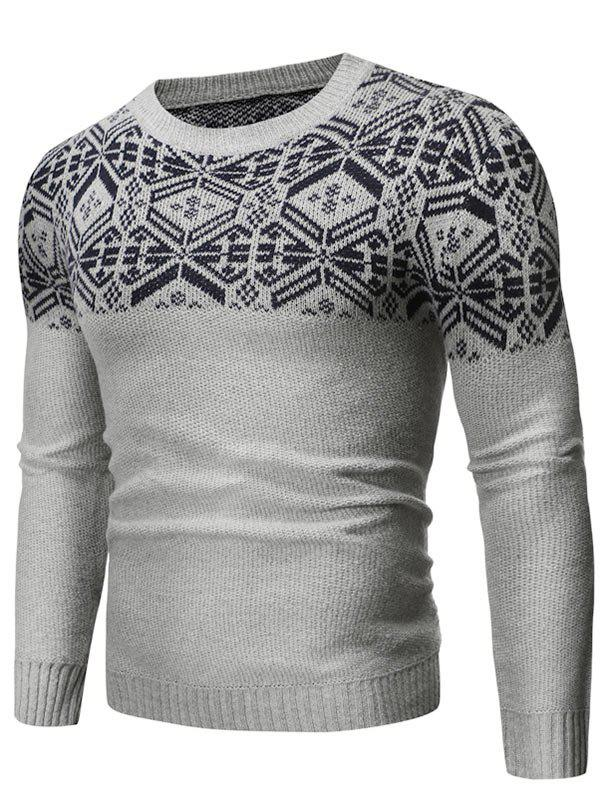 Fashion Geometric Graphic Contrast Pullover Sweater