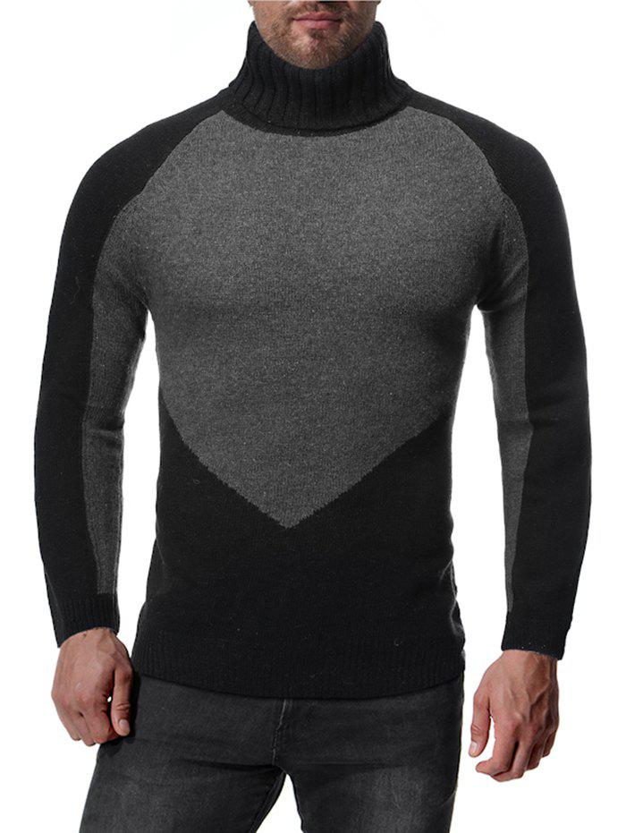 Online Colorblock Spliced Raglan Sleeve Turtleneck Sweater