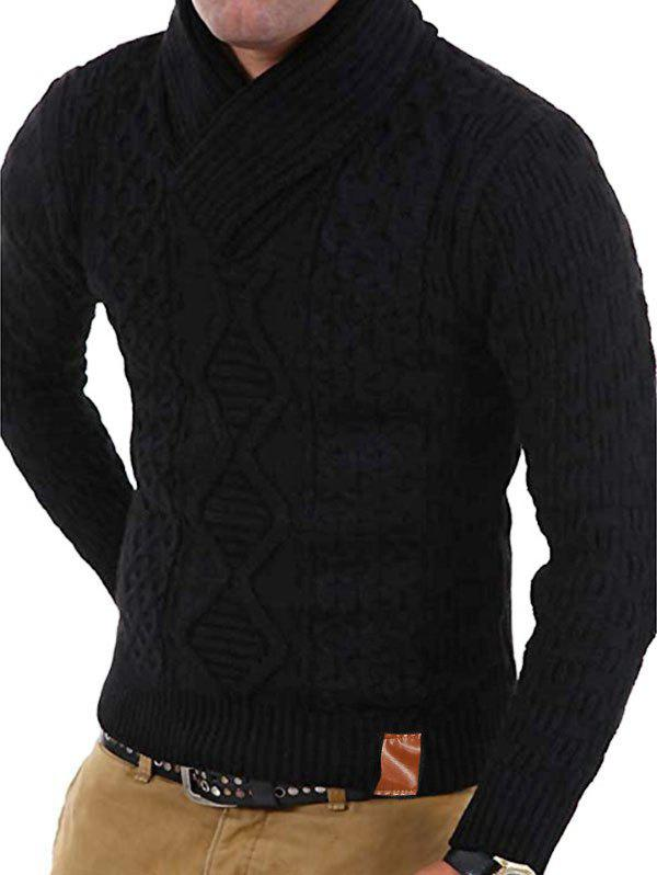 Buy Solid Color Knitted Shawl Collar Sweater