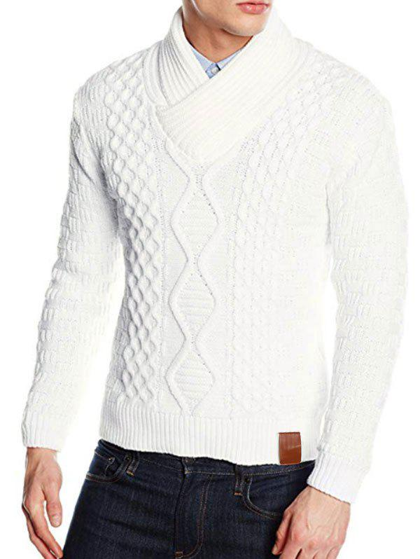 Outfits Solid Color Knitted Shawl Collar Sweater