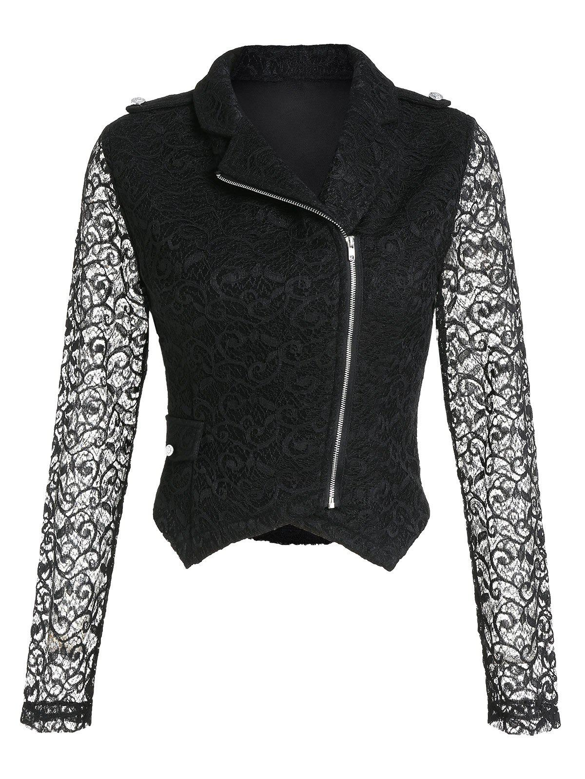 Affordable Zip Up Lapel Lace Short Jacket