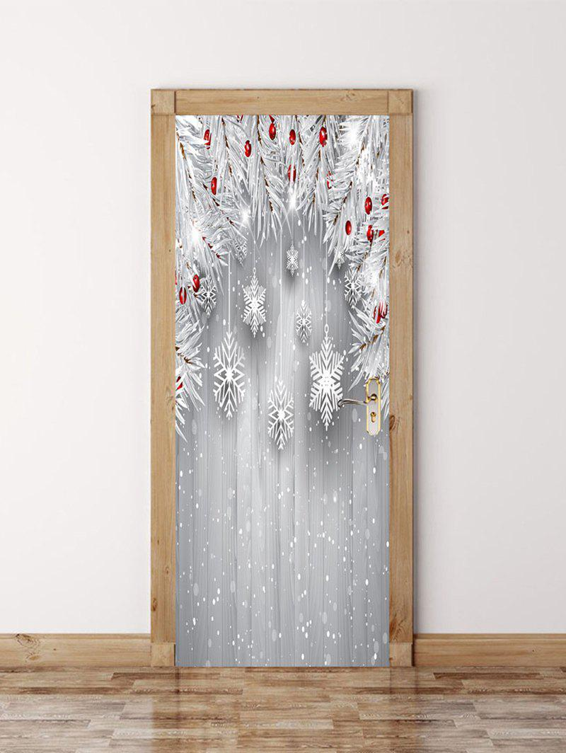 Best Christmas Wooden Snowflake Door Art Stickers