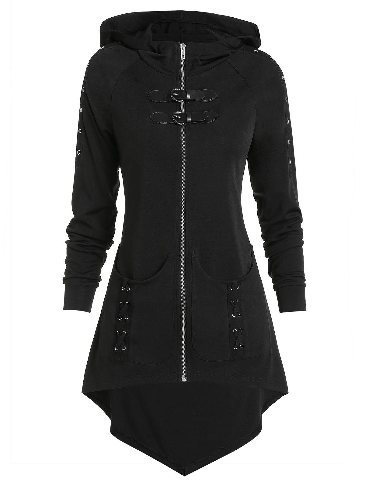 Shop Dual Buckle Zip Up High Low Gothic Jacket