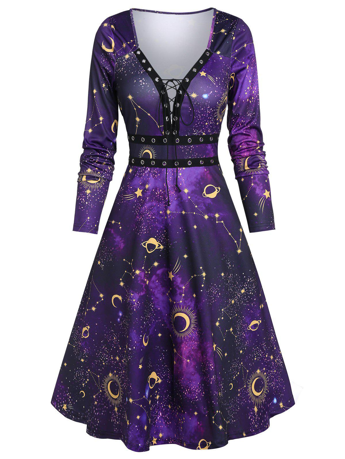 Affordable Starry Print Lace Up Midi A Line Dress