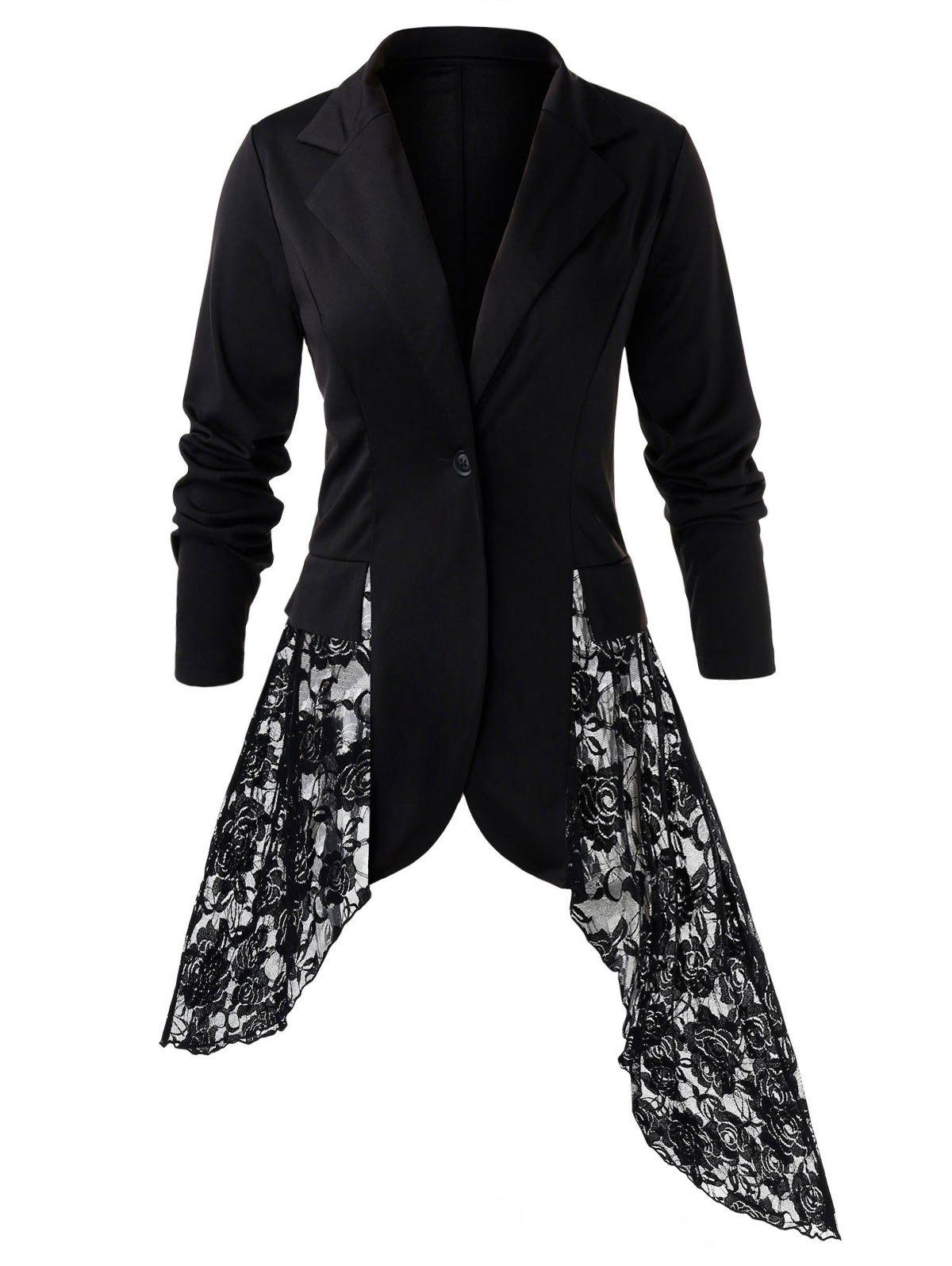 Plus Size Lace Panel Blazer Noir 3X