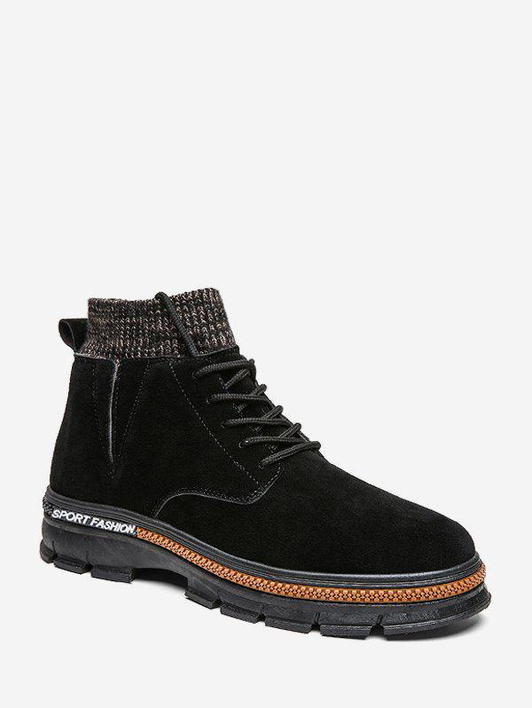 Store Lace Up Knitted Edge Solid Boots
