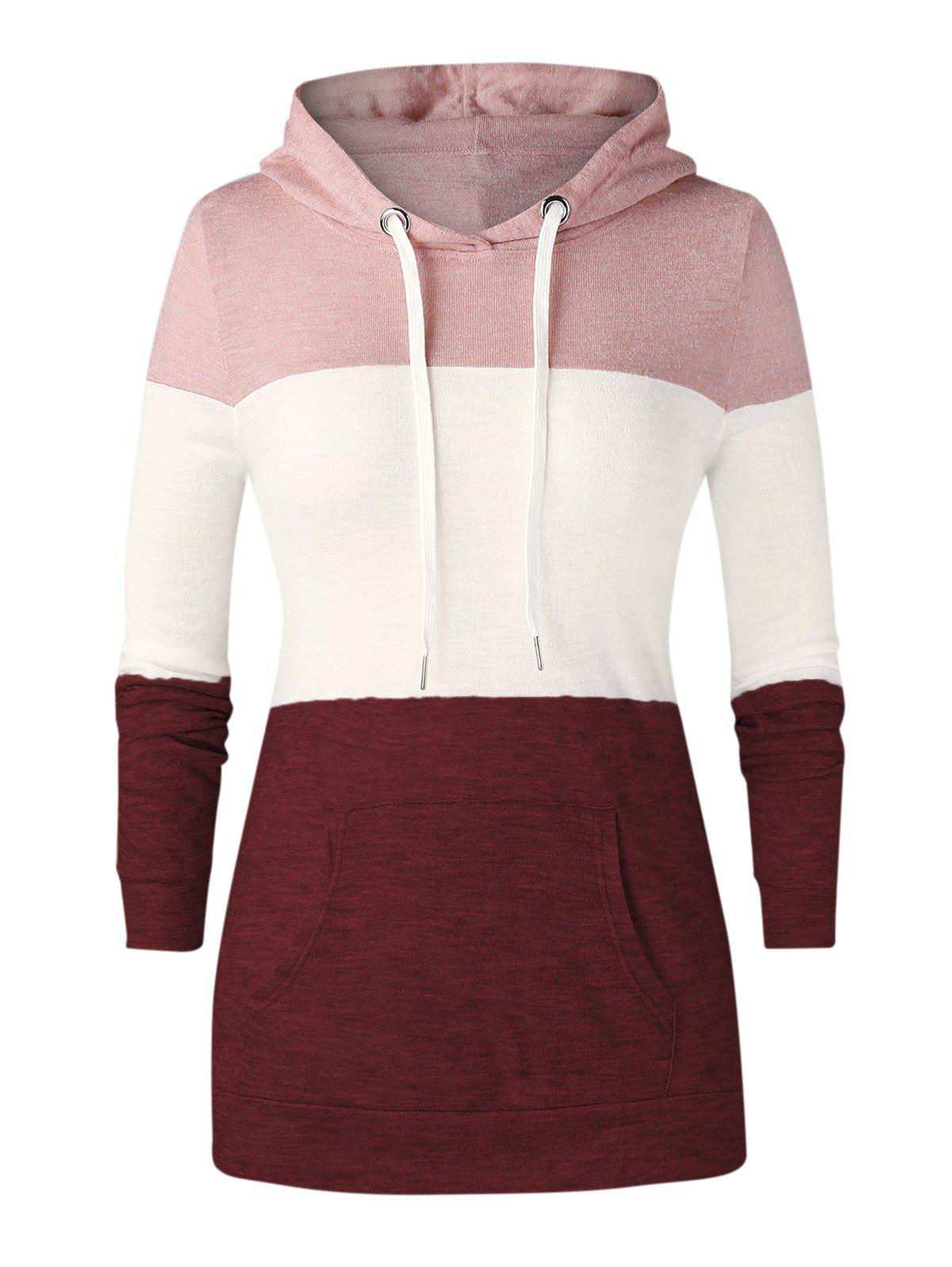 Trendy Plus Size Color-blocking Kangaroo Pocket Drawstring Knit Hoodie