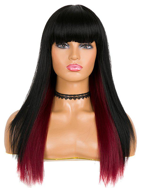 Cheap Synthetic Full Bang Ombre Long Straight Party Wig
