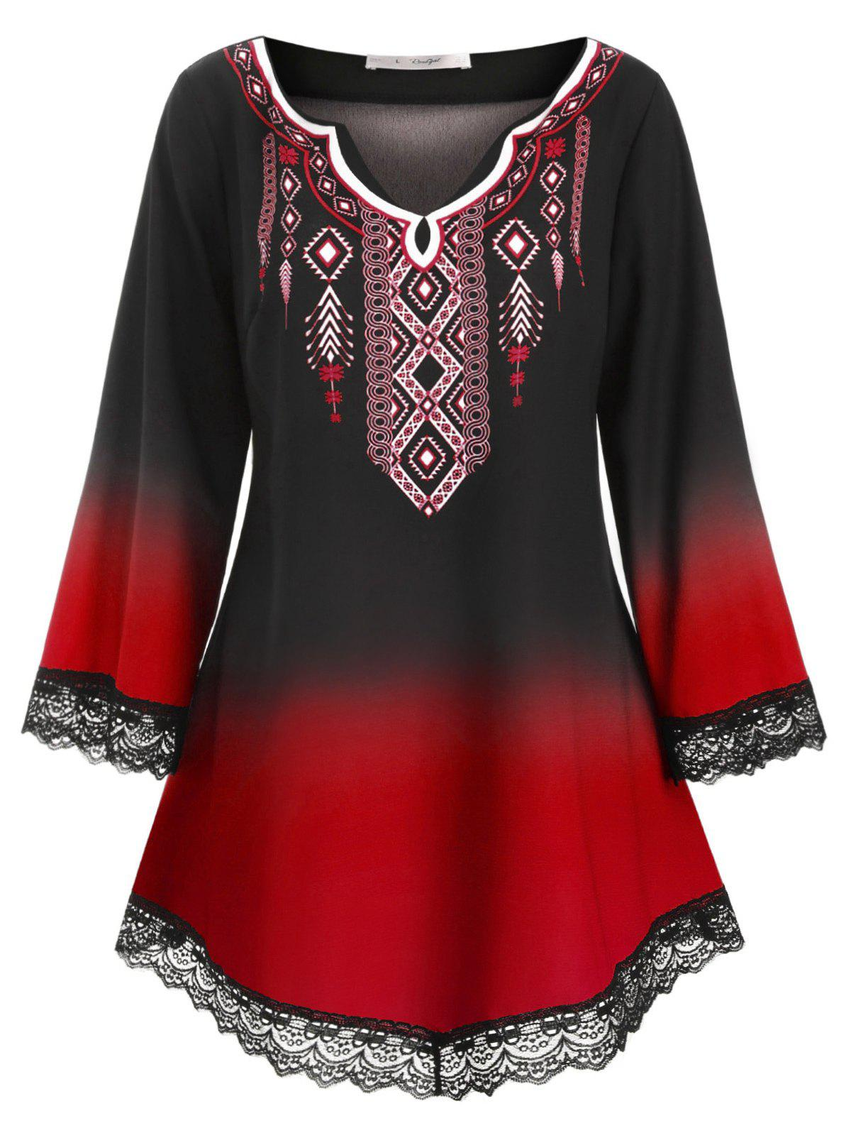 Online Longline Printed Scalloped Lace Panel Plus Size Blouse