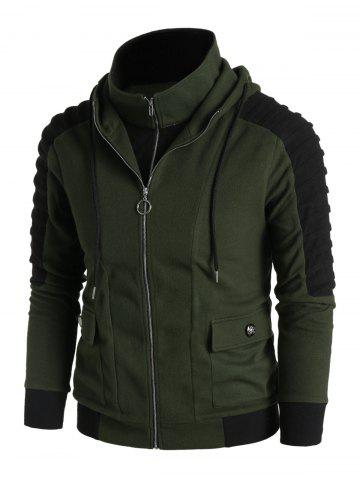 Pleated Sleeve Double Pockets Contrast Double Zip Up Hoodie