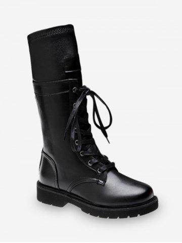 Solid PU Leather Lace Up Mid Calf Boots
