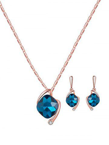 Artificial Diamond Pendant Necklace and Earrings