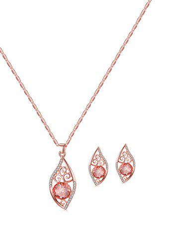 Hollow Out Floral Rhinestone Necklace and Earrings