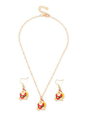Christmas Santa Claus Chain Necklace and Hook Earrings