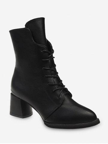 Pointed Toe Lace Up Mid Calf Boots