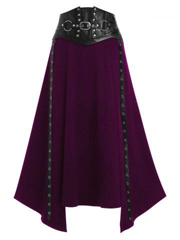 Faux Leather Buckle Strap Rivet Embellished Lace-up Asymmetric Gothic Skirt