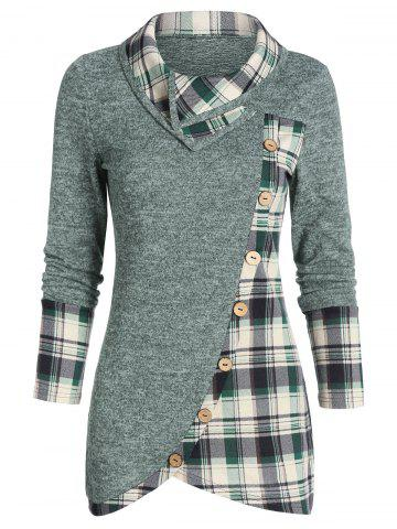 Plaid Print Mock Button Overlap Tunic T-shirt