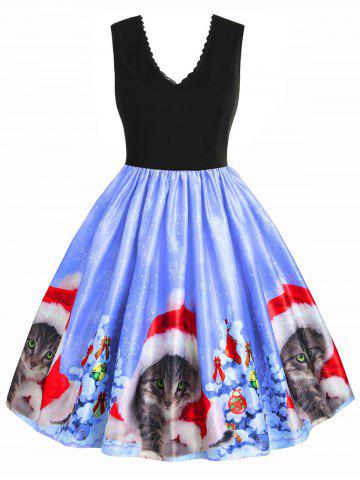 Christmas Cat Snowflake Lace Trim Back Zipper Dress
