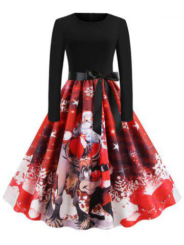 Christmas Knee Length Belted Party Dress