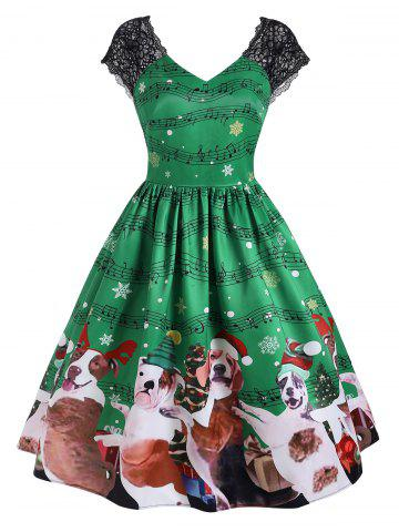 Christmas Musical Note Snowflake Print Lace Panel V Neck Dress