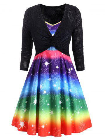Plus Size Christmas Snowflake Rainbow Dress and Knit Top Set