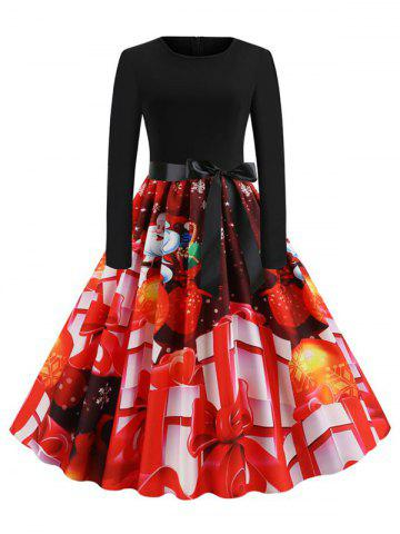 Christmas Gift Print Belted Party Dress