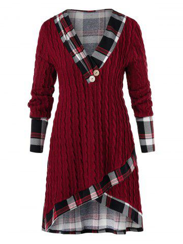 Plus Size Plaid High Low Cable Knit Sweater - RED WINE - 1X