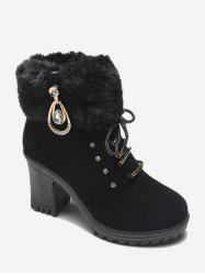 Faux Fur Lace Up High Heel Short Boots -