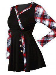 Mock Button Plaid Print Mini Surplice Dress -