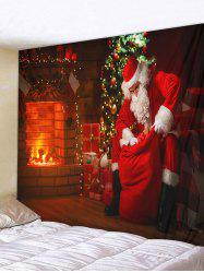 Christmas Tree Santa Claus Fireplace Print Tapestry Wall Hanging Art Decoration -