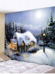 Christmas Forest House Print Tapestry Wall Hanging Art Decoration -
