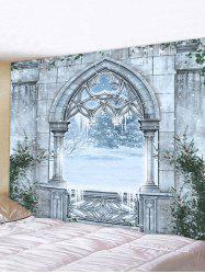 Castle Window Snow Print Tapestry Wall Hanging Art Decoration -