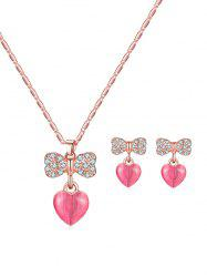 Rhinestone Bowknot Heart Pendant Necklace and Earrings -