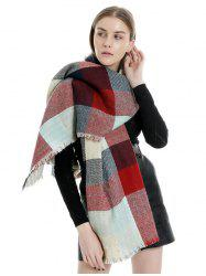 Color-blocking Plaid Fringe Scarf -