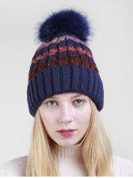 Striped Knitted Winter Fuzzy Ball Hat -