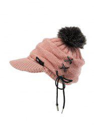 Furry Fuzzy Ball Knitted Winter Hat -