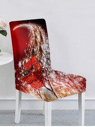 Christmas Santa Claus Elk Snowflake Ball Print Chair Cover -