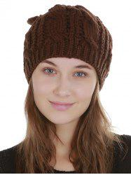 Solid Color Decoration Knitted Beanie -