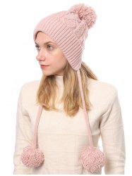 Fuzzy Ball Cable Knit Solid Sweater Cap -